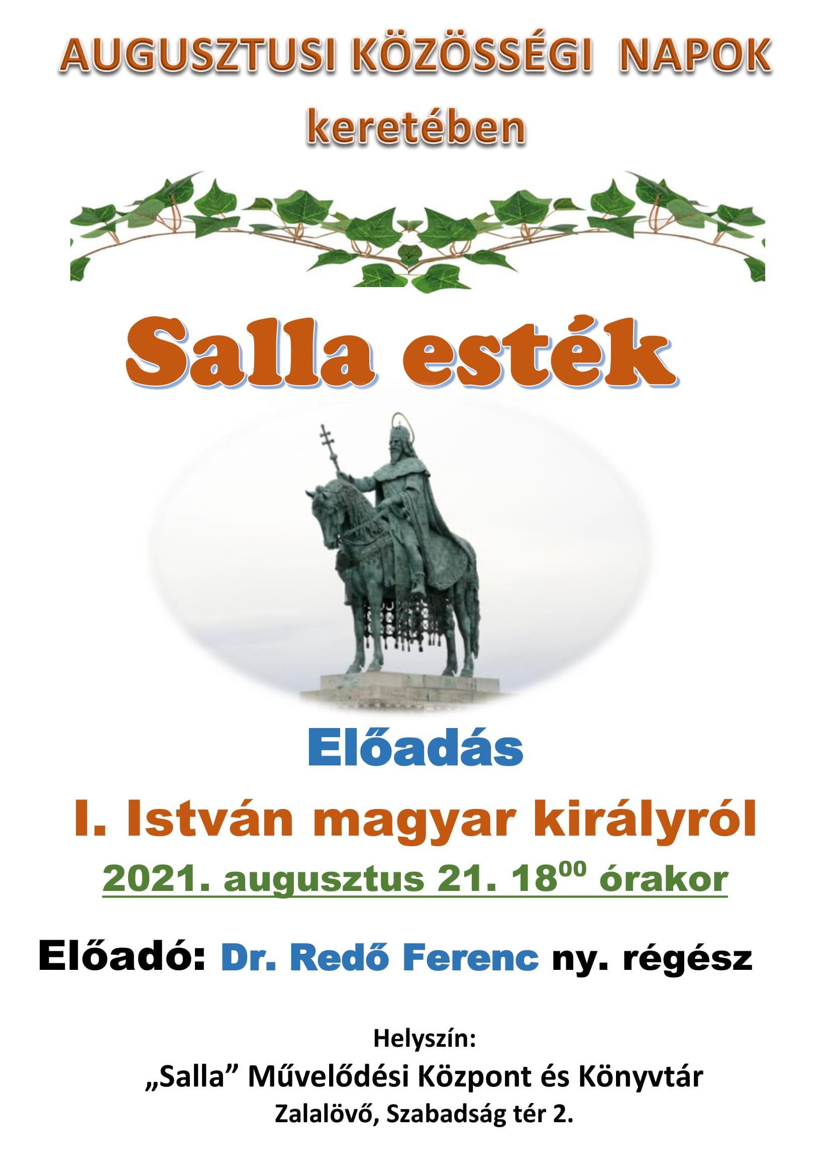 Előadás  I. István magyar királyról