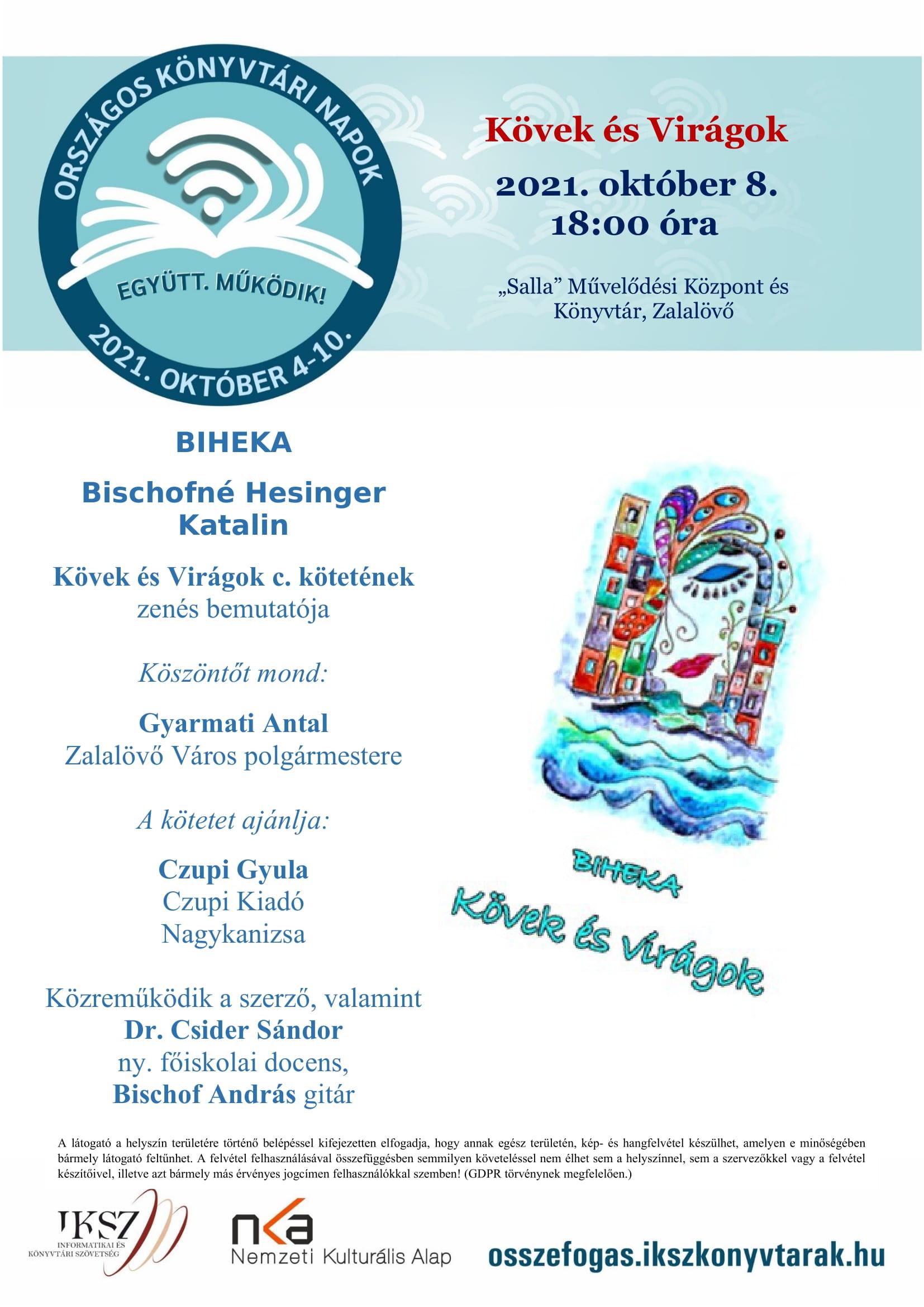 Bischofné Hesinger Katalin Kövek és Virágok c. kötetének zenés bemutatója